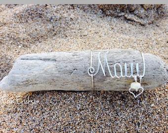 Maui. Wireart. Pukashell. Hawaii. Sea. Driftwood. Heart. Giftidea. Wirename. Beach. Seashell.