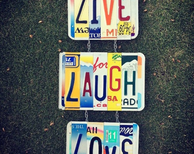 Recycled. Live Laugh Love. Sign. License Plate. Room Decor. Sign. Wall hanging.Custom Name. Handmade.Family name. door hanging.