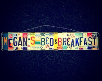 License plate.art. Bed and breakfast. Custom. Sign. Recycled art. Upcycled . Home decor. For her. Girls. Hawaii. Travel.