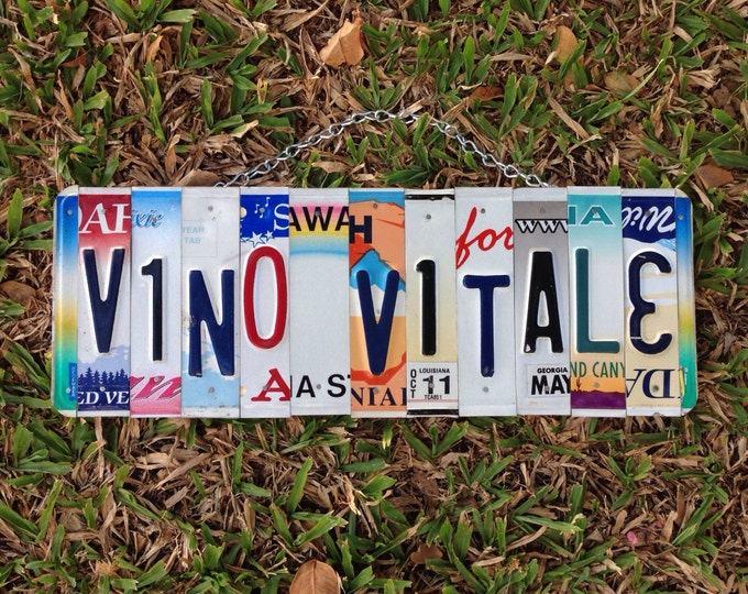 License plate art. sign. Christmas. Food, friends. Family . Upcycled. Wine. Drinks. Party. Bar