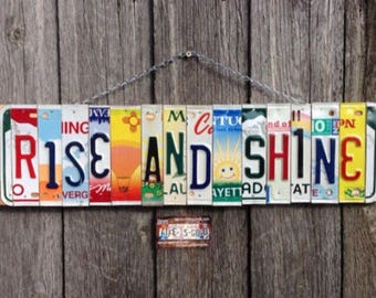 Rise and Shine License Plate Art - Farmstyle Decor - Birthday Gift - License Plate Sign - Home Decor - Gift Idea