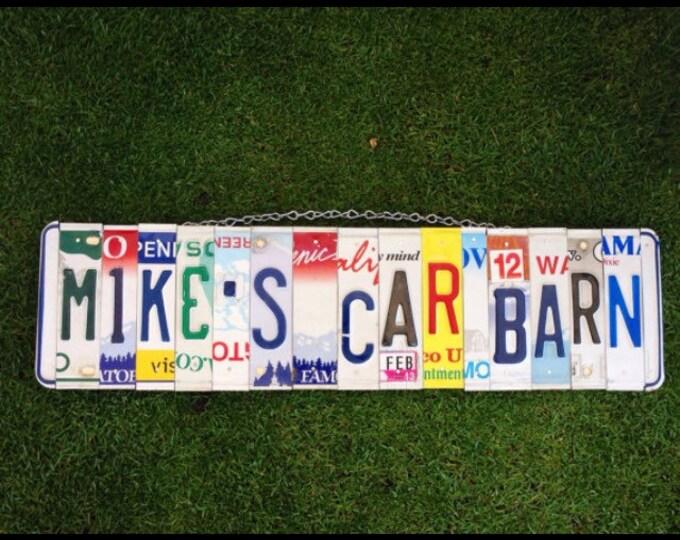Car. Barn. Classic car. Shop. Garage. Mens gift. For him. Birthday. Mancave. Christmas. Dad. License plate. sign