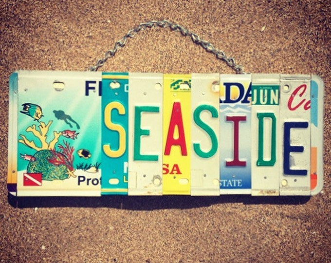 Beach Decor. Mothers Day Gift. Seaside Sign. Beach House Gift. License Plate Art. Beach House Decor.