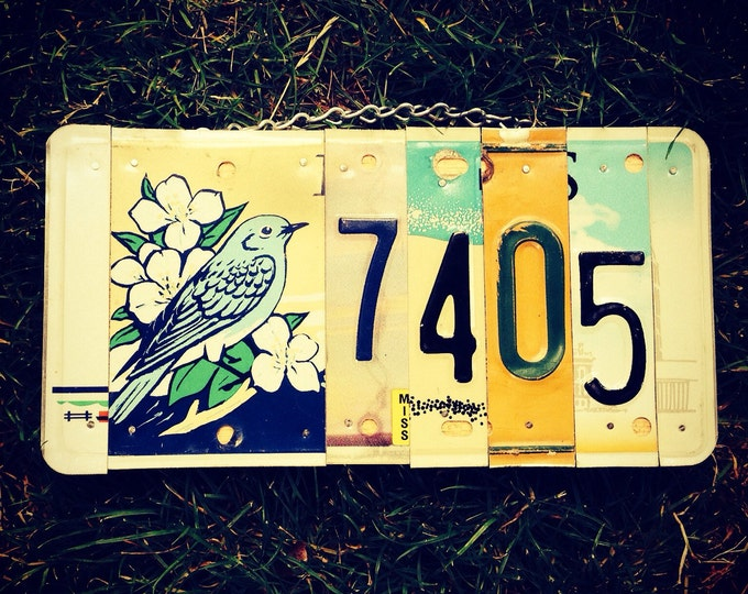 License plate. House Number. Sign. Housewarming. Giftidea. Bluebird. Customsign. Recycled. Homedecor