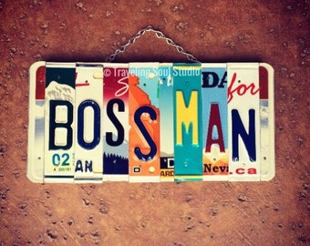 Personalized Gift for Boss, Boss Man License Plate Sign, Boss Appreciation Gift, Birthday Gift for Boss, Boss Gift Men, Boss Gifts Leaving.