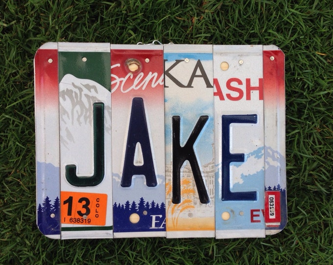 License plate. Jake. Christmas. Boys. Boysroom. Homedecor. Car. Room. Recycle. Name