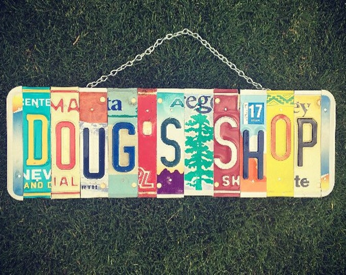 Shop Sign, Gift for Him, Garage Decor, Fathers Day Gift, License Plate Sign, Mens Gift, Custom Sign.