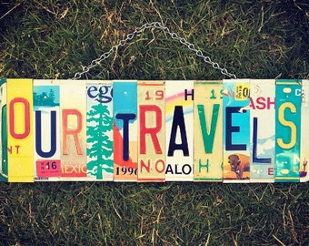 Travel Art, Travel Decor, Travel Gift, License Plate Art, Travel Momento, Travel Sign, Traveller Gift, United States Gift Idea. Travel Souve