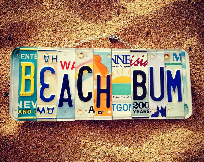 BEACH BUM License Plate Art - Made in Hawaii. Beach Decor - Hawaii gifts - Beach Sign - Recycled License Plates -