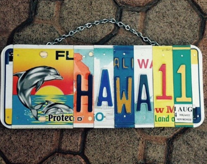 Hawaii. Dolphin. Beach. Maui. Licenseplate. Art. Custom. Giftidea. Roomdecor. Beachdecor. Sign. Girls. Sea. Usa. Nautical