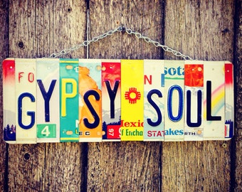 Boho Sign- Gypsy Soul- License Plate Art- Bohemian Decor- Hippie Room Decor-