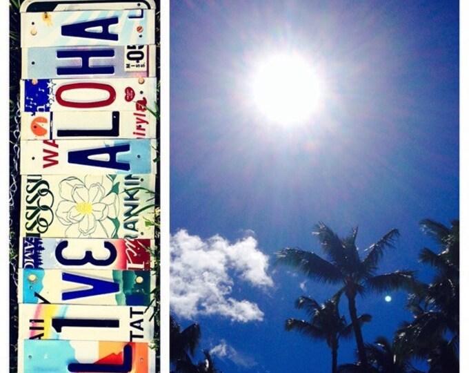 Palmtree. Live Aloha. Hawaii. License Plate. Room Decor. Sign. Wall hanging. Custom Name. Handmade.Family name. Ohana