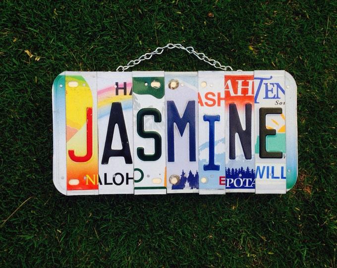 Jasmine. Girls. Name. Bedroom. Girls room. Baby girl. Girls name. License plate. Girls birthday. Girls present. Party. Personalized. Custom