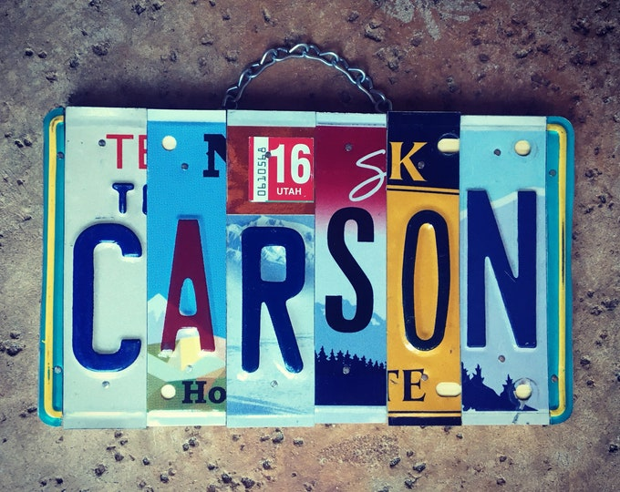 Gift for Boys, Boys Personalized Gift, Boys Name, Carson, Stocking Stuffers, Boys Room Decor, License Plate Sign.