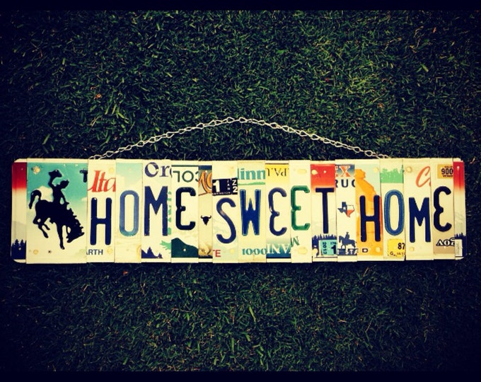 Home Sweet Home Sign, Country Decor, Cowboy Decor, License Plate Art, House Warming Gift, Cowboy Signs.