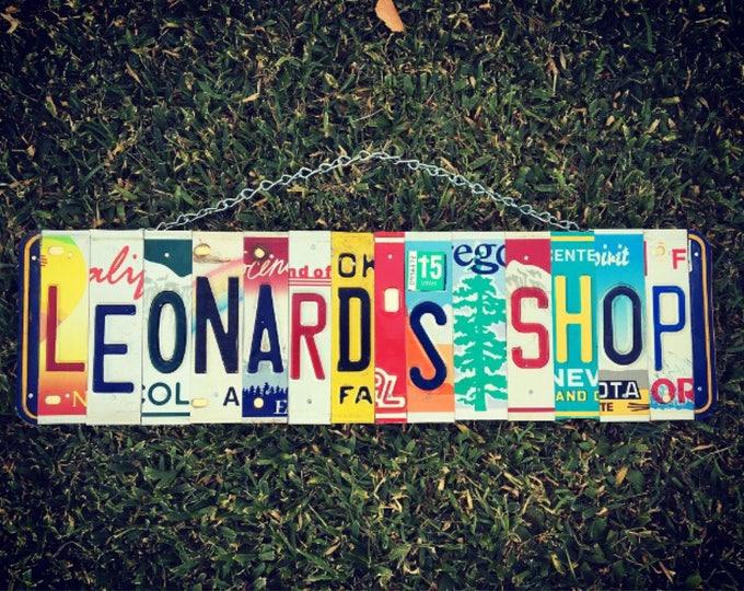 License Plate -Garage Sign. Garage decor. Mancave. For Him. Gift idea for Dad. Mens gift idea. License plate sign.