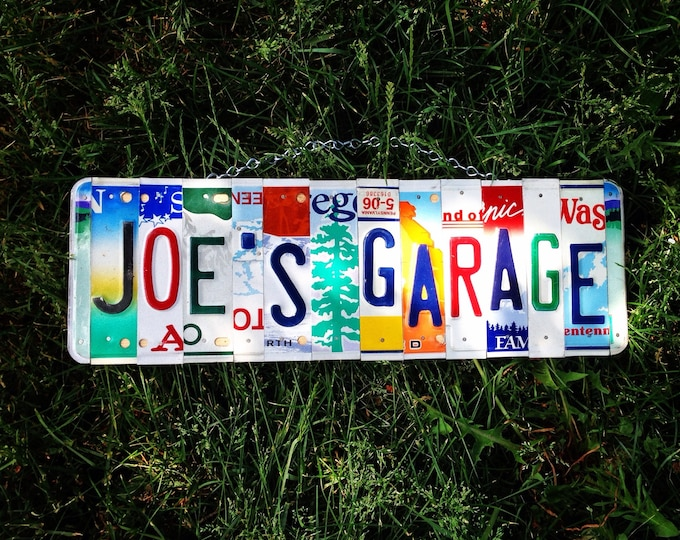 Personalized garage license plate sign