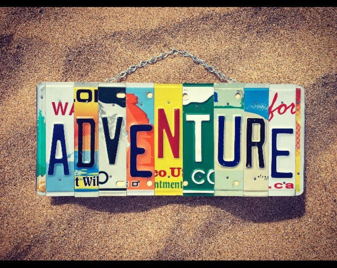 ADVENTURE Sign. Gift for Travelers.    Road Trip Gift. Adventure Inspiration. License Plate Art. License Plate Sign. Tribal Decor.