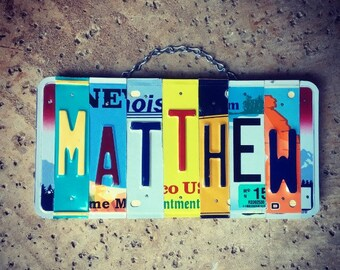 Personalized Gifts, Gifts for Kids, Boys Name Sign, Car Themed Room Decor, Custom Name, License Plate Letters, Matthew