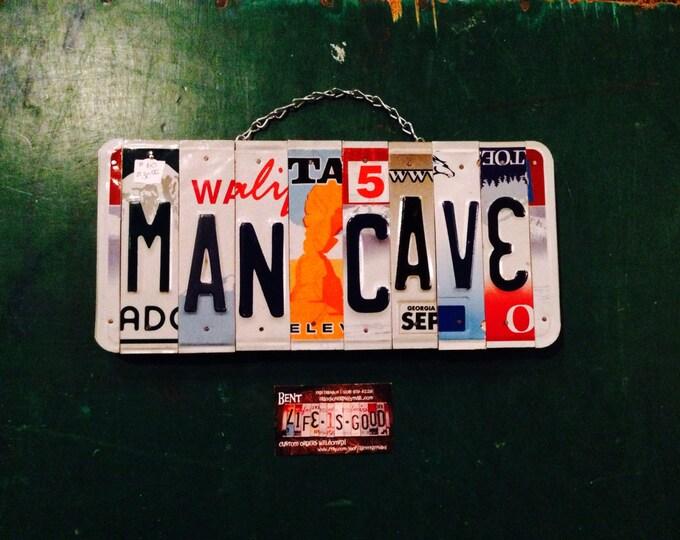 Mancave. Man. Room decor. Gift idea . Husband . Licenseplate . Bar. Sports. Usa