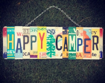 HAPPY CAMPER. License Plate Sign. Office Decor. Positive quotes sign. Camping decor. Camping sign. Be happy sign. Christmas gift idea.