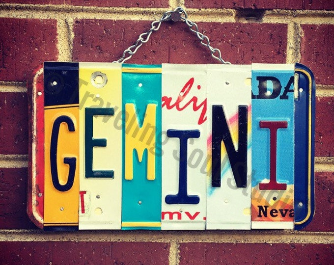 Gemini Zodiac, Gemini Art, Astrology Gifts, Zodiac Gifts, Astrology Sign, Gemini License Plate Sign.