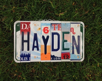 Boys , licenseplate, sign, car, giftidea, baby, nursery, car, toddler, teen, name, customname, recycled, hunter.