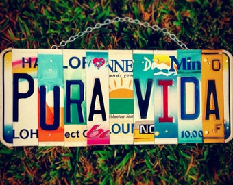 Pura vida. License plate. Sunshine. Hawaii. Costa rica . Sign. Custom. Beach