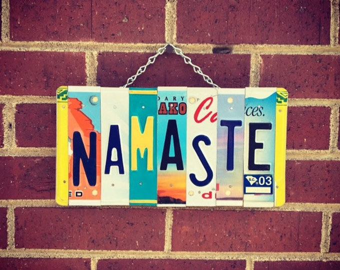 Yoga Gifts, Namaste Sign, License Plate Art, Yoga Teacher Gift, Yoga Sign, Namaste Wall Art, Yoga Instructor Gift.