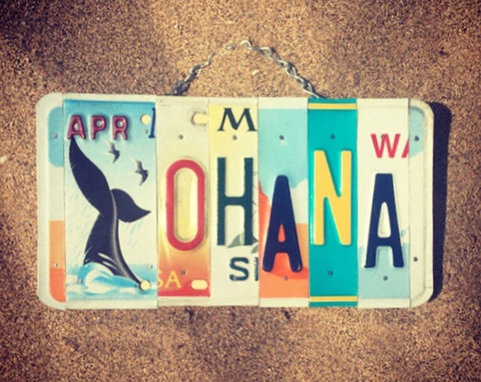 Ohana Sign. Beach Decor. Whale Art. Hawaiian Decor. Ohana Means Family Sign. Whale Decor. License Plate Art.