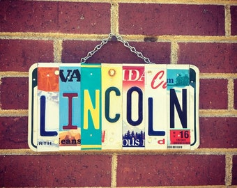 Boys Name. Gift for Him. Gift for Son, Dad, Papa, Brother. Lincoln. Custom Name. Personalized Sign. License Plate.