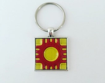 New Mexico Keychain, New Mexico Souvenir, New Mexico Gifts, Keychain, Gift Tag, Travel Gifts, New Mexico Zia, New Mexico Zia