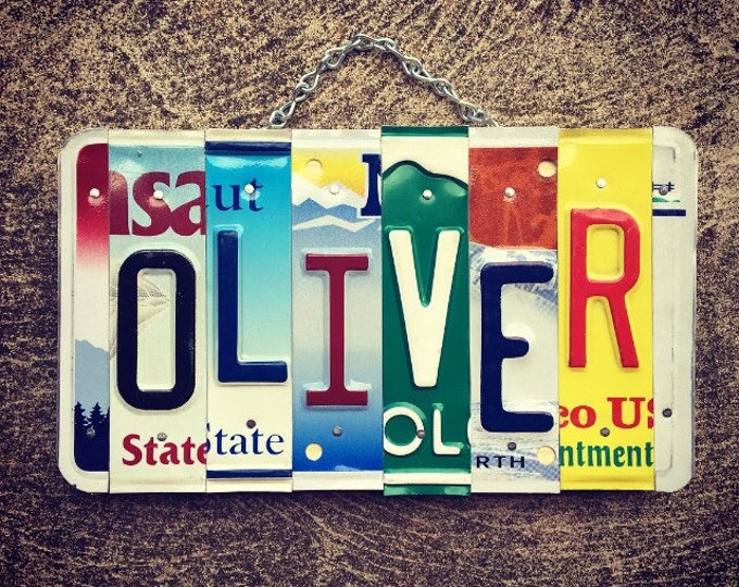 Oliver License Plate Art- Valentines Day Gift - For Him- Mens Gift- Boys Room Decor- Baby Shower Gift -Art