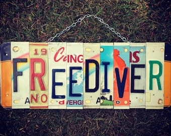 Personalized Gift For Diver, Free Diver, License Plate Art, Diver Birthday Gift, Diver Gift, Diver Sign, Gift For Diver, Scuba Diver.