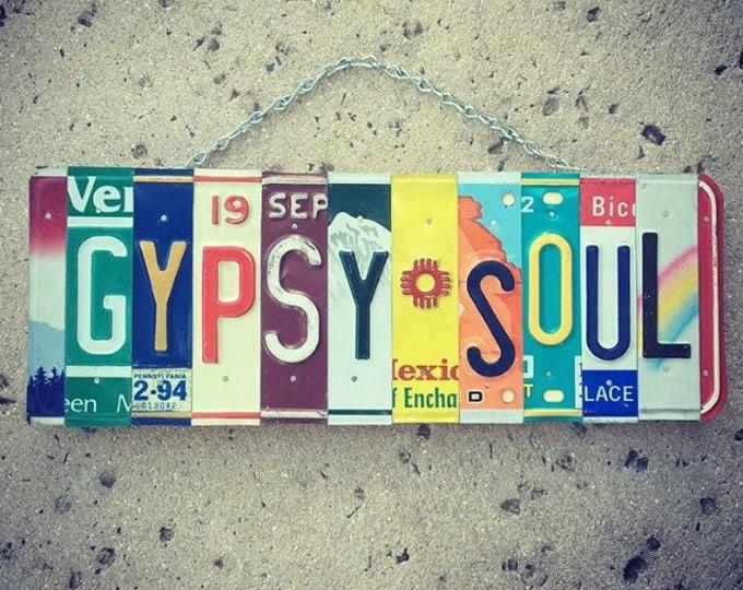 Gypsy Soul License Plate Art - Birthday for her - Wanderlust - Free Spirit - Bohemian - Handmade - Art.