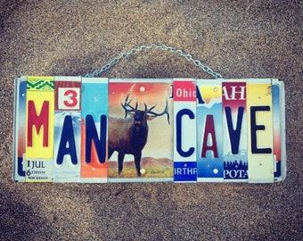 MANCAVE License Plate Sign. -Elk -mancave- cabin decor -sportsman -hunter -giftforhim