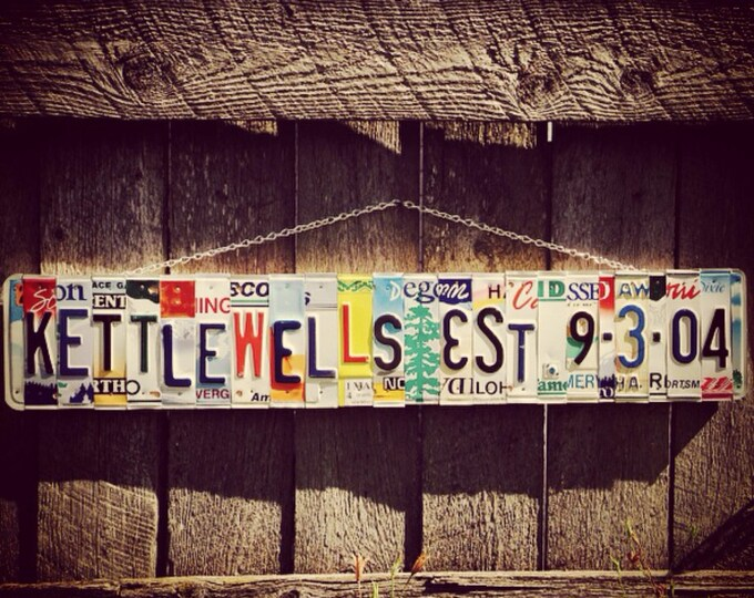 10th Wedding Anniversary Tin Aluminum Gift Last Name Recycled License Plate Art Sign Wedding 20 30 40 50 Wedding Date Sign