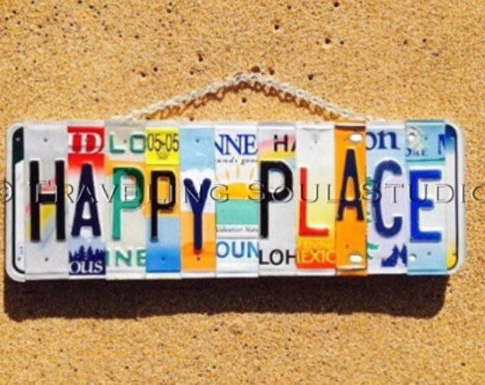 HAPPY PLACE, My Happy Place Sign, License Plate Sign, Beach Decor, Gift for her, Retirement Gift Idea, Beachouse Decor, License Plate Art.