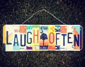 Positive Signs. Mothers Day Gift. Beach Decor. Palm tree Art. Laugh Often.