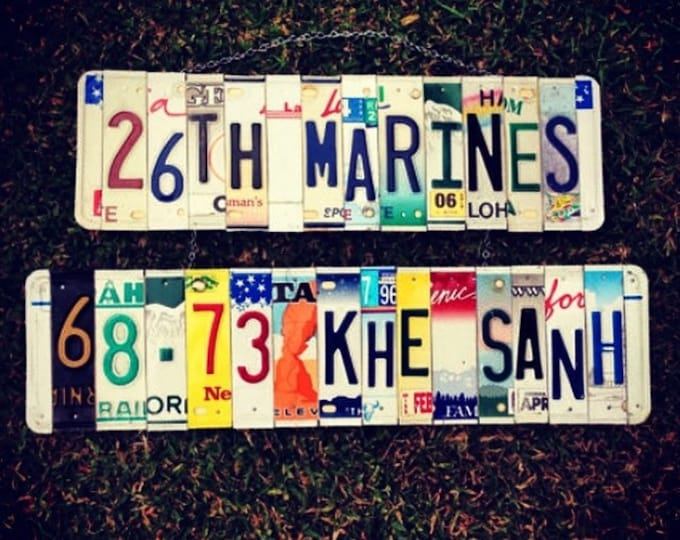 Recycled. Army. Navy. Veteran. Airforce. Marines. License plate. Handmade. gift idea. Forhim. Dad