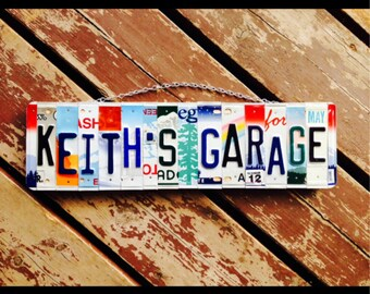 Made in hawaii. License plate sign. Mancave. Recycled. License plate. Sign. Garage. Dad. Boys . Car. Shop sign. Him. Custom name