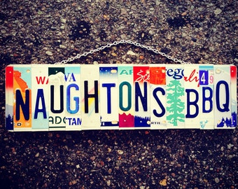 License plate. Business sign. Recycle. Food. Kitchen. Bbq. Custom. Dad. Garage. Sign. License plate art. Mancave