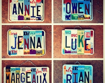 Custom Signs, Exchange Student Gift, License Plate Art, Kids Room Decor, Custom Name, Baby Shower Present, Unique Gifts, Personalized Name.