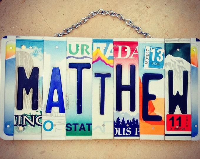 License plate art. Boys. Room decor. Art. Custom order. Christmas gift. Matthew. Babyboy. Mancave. Personalized