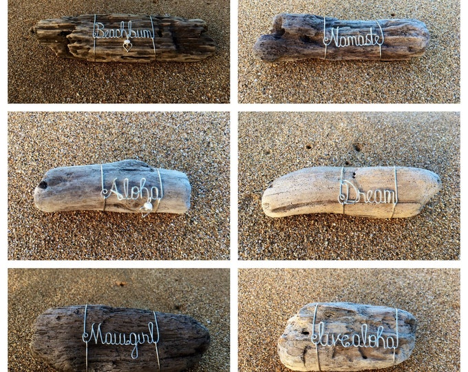 Personalized Name, Inspirational Gifts for Mom, Driftwood Beach Decor, Wire Art, Word Art, Made in Hawaii, Driftwood Pieces.