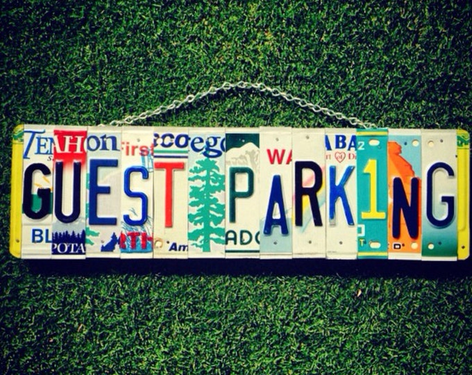 Parking Sign. Guest Parking. Guest Parking Sign. Car Tag. License Plate Art. Parking Sign for Wedding. Garage Sign.