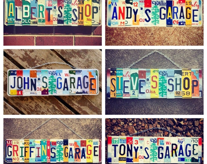 Personalized Gift for Dad, License Plate Art, Upcycled, Wood Sign, Mancave Decor, Car Memorabilia, Rustic Garage Sign, Gift for Men