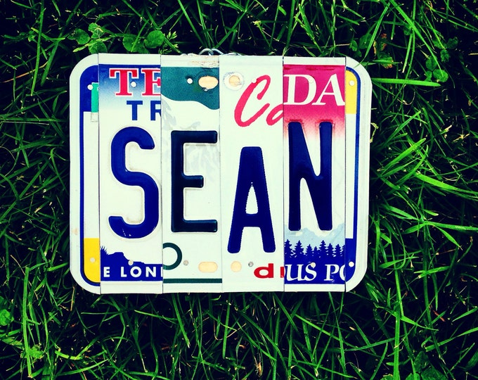 License plate art. Giftidea. Boy. Recycled. License plate. Garage sign. Father. Son. Car. Teen. Boy. For him
