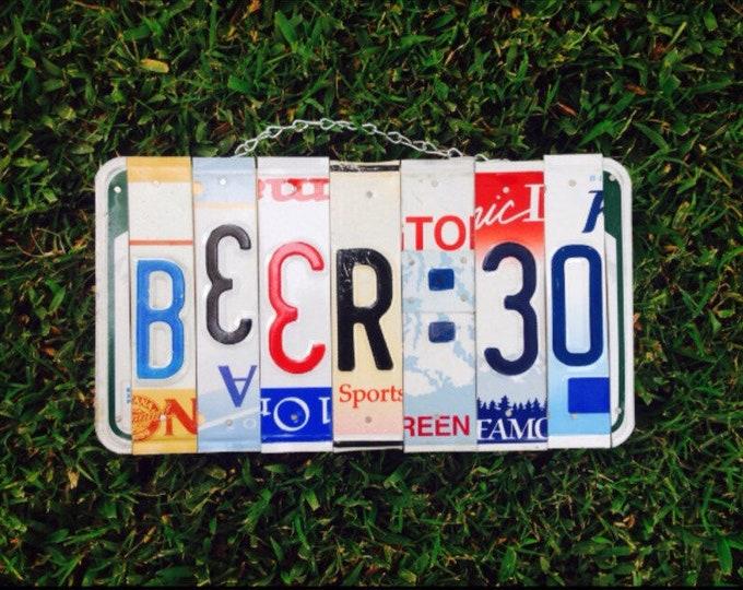 Beer Gift, Bar Sign, License Plate Art, Beer Sign, Beer:30, Gift for Men, Mancave Decor, Liquor Bar Decor