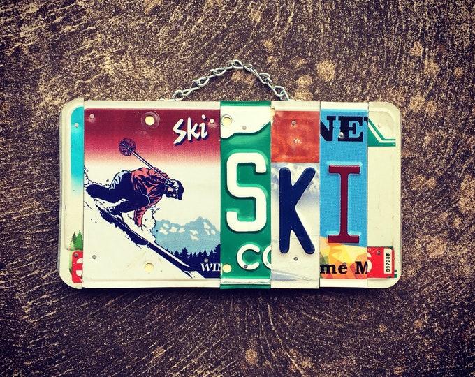Gift for Skier, Ski Gifts, Ski Decor, Ski Sign, Ski Art, Ski Cabin Decor, License Plate Art, Home Decor, Gift Ideas.